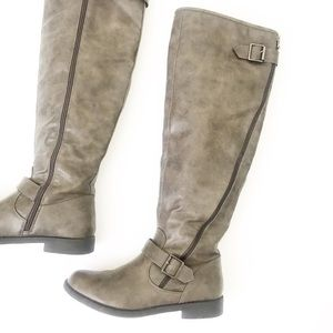 JUSTFAB Selina Gray-Brown Knee High Boots. Size 9